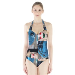 Holliwood Face Painting Halter Swimsuit