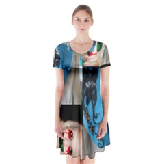 Holliwood Face Painting Short Sleeve V-neck Flare Dress