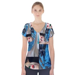 Holliwood Face Painting Short Sleeve Front Detail Top