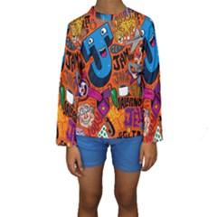 J Pattern Cartoons Kids  Long Sleeve Swimwear