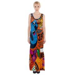 J Pattern Cartoons Maxi Thigh Split Dress