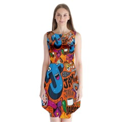 J Pattern Cartoons Sleeveless Chiffon Dress