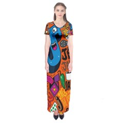 J Pattern Cartoons Short Sleeve Maxi Dress