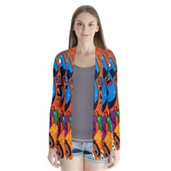 J Pattern Cartoons Drape Collar Cardigan