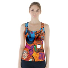 J Pattern Cartoons Racer Back Sports Top