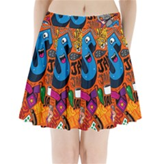 J Pattern Cartoons Pleated Mini Skirt