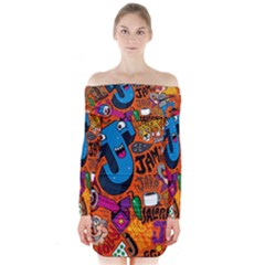 J Pattern Cartoons Long Sleeve Off Shoulder Dress