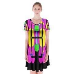 NEIGE Short Sleeve V-neck Flare Dress