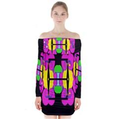 NEIGE Long Sleeve Off Shoulder Dress