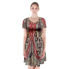 Indian Traditional Art Pattern Short Sleeve V-neck Flare Dress