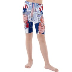 Independence Day United States Of America Kids  Mid Length Swim Shorts