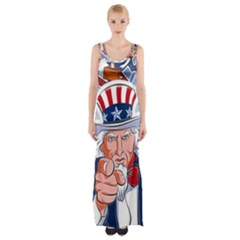 Independence Day United States Of America Maxi Thigh Split Dress