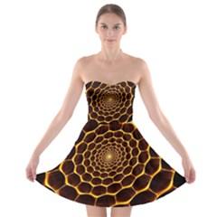 Honeycomb Art Strapless Bra Top Dress