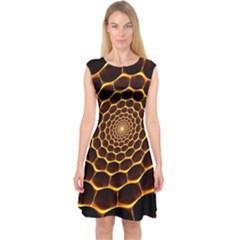 Honeycomb Art Capsleeve Midi Dress