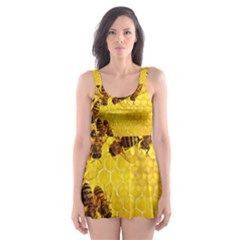 Honey Honeycomb Skater Dress Swimsuit