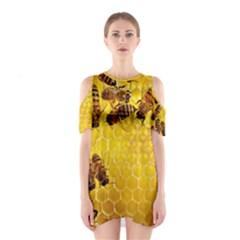 Honey Honeycomb Cutout Shoulder Dress