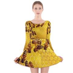 Honey Honeycomb Long Sleeve Velvet Skater Dress