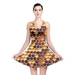 Honey Honeycomb Pattern Reversible Skater Dress