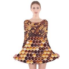 Honey Honeycomb Pattern Long Sleeve Velvet Skater Dress