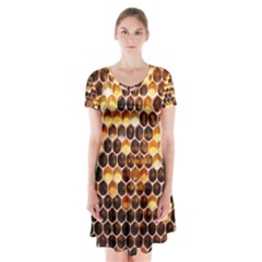 Honey Honeycomb Pattern Short Sleeve V-neck Flare Dress