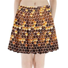 Honey Honeycomb Pattern Pleated Mini Skirt