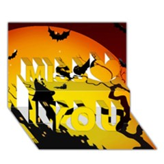 Halloween Night Terrors Miss You 3D Greeting Card (7x5)