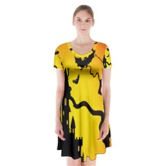 Halloween Night Terrors Short Sleeve V-neck Flare Dress