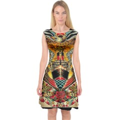 Hail Fine Art Print Capsleeve Midi Dress
