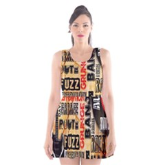 Guitar Typography Scoop Neck Skater Dress