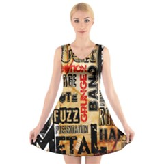 Guitar Typography V-Neck Sleeveless Skater Dress