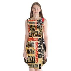 Guitar Typography Sleeveless Chiffon Dress