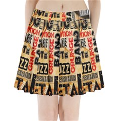 Guitar Typography Pleated Mini Skirt