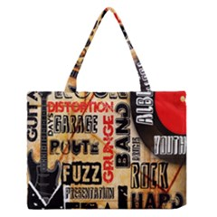 Guitar Typography Medium Zipper Tote Bag