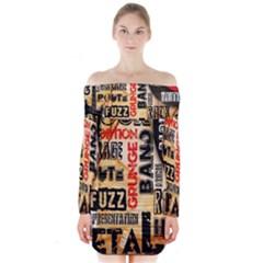 Guitar Typography Long Sleeve Off Shoulder Dress