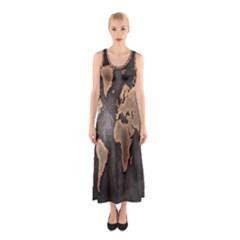 Grunge Map Of Earth Sleeveless Maxi Dress