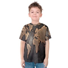 Grunge Map Of Earth Kids  Cotton Tee