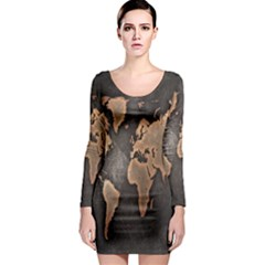 Grunge Map Of Earth Long Sleeve Bodycon Dress