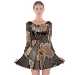Grunge Map Of Earth Long Sleeve Skater Dress