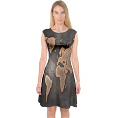 Grunge Map Of Earth Capsleeve Midi Dress