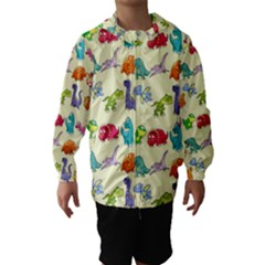 Group Of Funny Dinosaurs Graphic Hooded Wind Breaker (Kids)