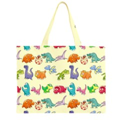 Group Of Funny Dinosaurs Graphic Large Tote Bag