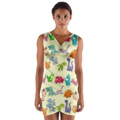 Group Of Funny Dinosaurs Graphic Wrap Front Bodycon Dress