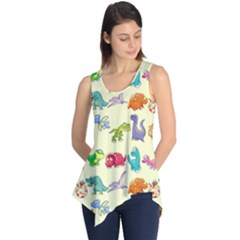 Group Of Funny Dinosaurs Graphic Sleeveless Tunic
