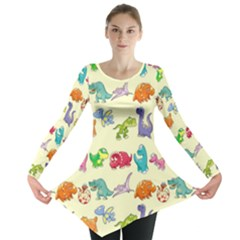 Group Of Funny Dinosaurs Graphic Long Sleeve Tunic