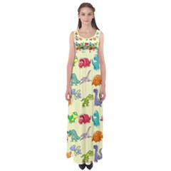 Group Of Funny Dinosaurs Graphic Empire Waist Maxi Dress