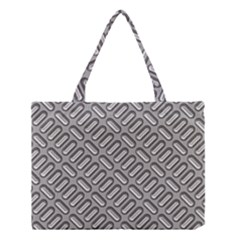 Grey Diamond Metal Texture Medium Tote Bag