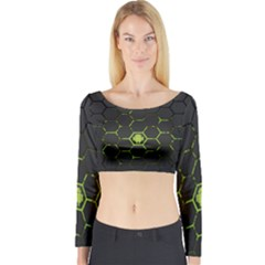Green Android Honeycomb Gree Long Sleeve Crop Top
