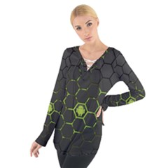 Green Android Honeycomb Gree Women s Tie Up Tee