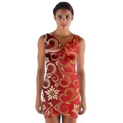 Golden Swirls Floral Pattern Wrap Front Bodycon Dress