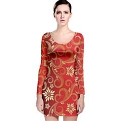 Golden Swirls Floral Pattern Long Sleeve Velvet Bodycon Dress